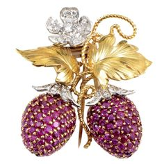 Ruby Diamond Gold Platinum Berry Brooch   From a unique collection of vintage brooches at https://www.1stdibs.com/jewelry/brooches/brooches/