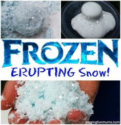 Frozen Erupting Snow! An awesome sensory activity for your little Frozen fans! Frozen Activities, Winter Activities For Kids, Science For Kids, Science Activities, Christmas Activities, Science Fun, Expirements For Kids, Science Projects For Preschoolers, Science Week
