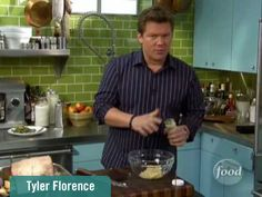 Best Food Network Kitchens - Tyler Florence | What we like about Tyler's kitchen: Funky Green subway tile is unique and eye-catching.   *Retro robin's egg Blue kitchen cabinets are an unexpected complement to green walls.  *Minimal top cabinets space- instead appliances, pans, and utensils are displayed for an urban feel. *Instead of typical granite countertops, Tyler goes all stainless steel for an industrial feel.