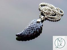 #Snowflake obsidian gemstone angel wing pendant necklace #natural #chakra healing,  View more on the LINK: http://www.zeppy.io/product/gb/2/322029623092/