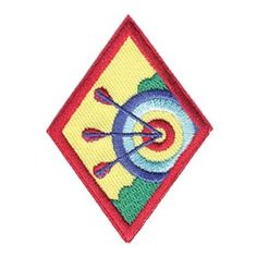 """*NEW*CADETTE ARCHERY BADGE $2.00 #61433 This new Outdoor badge was selected through the first-ever Girl Scout """"Girls' Choice"""" process. Girls cast their votes and selected the badge topics and designs, making the process girl-led from top to bottom."""