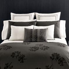 #VeraWang Pom Poms Duvet Cover. #Beddingstyle #bedding #black #floral #drama