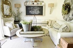 You can receive some tips on modern farmhouse style furniture ideas for your living room. Because of this eco friendly furniture is hitting the on-line shopping market with complete force. Essentially, your house should truly be reduced maintenance. Chic Living Room, Cozy Living Rooms, Living Room Decor, Dining Room, Tiny Living, Modern Living, Living Area, Farmhouse Style Furniture, Farmhouse Chic