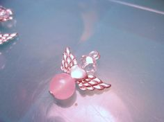 Guardian Angel Charms-Pink Rose Quartz and Crystal Beaded Guardian Angel Charm-Angel Dangle Charm-Car Charm-Grieving Charm-Birthstone