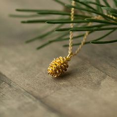 Gold Pinecone Necklace / Woodland Winter Holiday Jewelry / Gift for Her