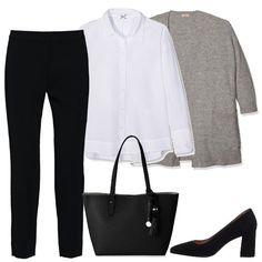 Ho scelto un paio di pantaloni classici neri abbinati ad una camicia in cotone bianca ed un cardigan in misto lana grigio. Per le scarpe un paio di dècolletè in ecopelle nera con tacco largo , per concludere una shopping bag in ecopelle nera.