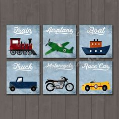Transportation Themed Set of 6 Canvas Prints, Boy Decor, Nursery, Toddler Room - toddler room ideas Car Themed Nursery, Baby Boy Nursery Themes, Baby Boy Rooms, Baby Boy Nurseries, Boys Bedroom Sets, Boys Bedroom Curtains, Bedroom Ideas, Bedrooms, Vintage Car Nursery