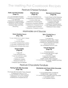 Melting Pot Fondue Recipes--YUM!!!