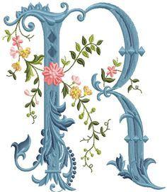 alfabeto celeste con flores R