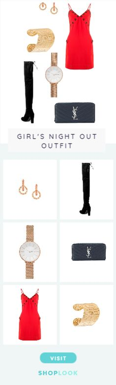 party out on the strip created on ShopLook.io featuring Ca&Lou, Stuart Weitzman, SKAGEN, Saint Laurent, Reinaldo Lourenço, Gas Bijoux perfect for Girl's night out.