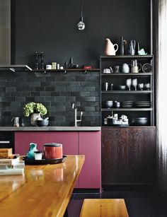 Kitchen. Black Subway Tile Backsplash. Pink Accent. Cabinets. Dark. Wood. Home. Modern. Interior Design. Decor.