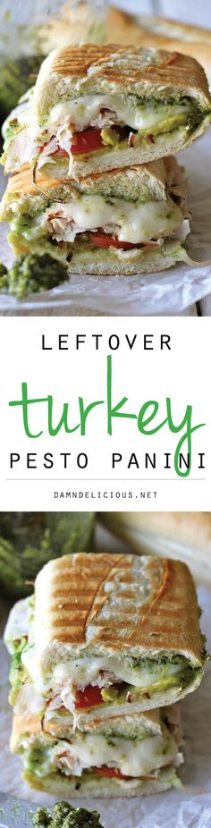 Leftover Thanksgiving Turkey Pesto Panini - This loaded panini is one of the perfect ways to use up your leftover Thanksgiving turkey! - One of the best things I like about the holidays is the leftover turkey! I Love Food, Good Food, Yummy Food, Thanksgiving Recipes, Thanksgiving Leftovers, Turkey Leftovers, Little Lunch, Tacos, Leftovers Recipes