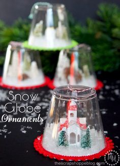 DIY Snow Globe Ornaments Kids Craft. Make these little snow globe ornaments to hang on your tree or as a little village to display in your home!