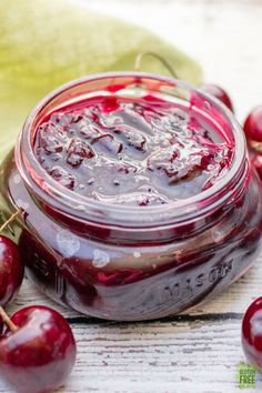 Easy, homemade cherry sauce is a must make for all your favorite cherry dishes, from topping ice cream to gluten free turnover filling, it's perfection! Cherry Recipes, Jam Recipes, Canning Recipes, Sauce Recipes, Fruit Recipes, Recipies, Dessert Recipes, Cherry Topping, Cherry Syrup