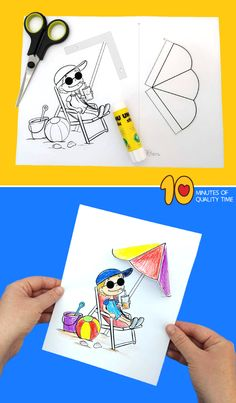Summer Beach Crafts for Kids - Kreatywnie - Kolorowanki szablony - craft Beach Crafts For Kids, Summer Crafts, Art For Kids, Summer Deco, Summer Kids, Easy Arts And Crafts, Crafts To Do, Sun Coloring Pages, Beach Themed Art