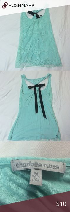 MOVING SALE 💝 Mint Lace Tank Beautiful mint green color. Black ribbon bow on the back, not detachable. I don't think this has ever been worn. EVERYTHING MUST GO, make an offer! Charlotte Russe Tops Tank Tops