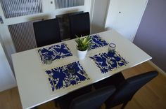 Set of 4  Navy Blue Otomi embroidered, OTOMI MEXICO, arte otomi, mexican otomi, paraiso otomi, Mexican Embroidered placemat | Hand Embroidered placemats | Colorful placemat | Animal placemat | Otomi multicolor placemat | Home & Living | Home Décor | Decorative Pillows | Colorful Placemats | placemat | handmade placemat | animal placemats | embroidered placemat | gift idea | home decor | table decorations | kitchen decoration | mexican placemats | table napkins | mantel hand embroidery |