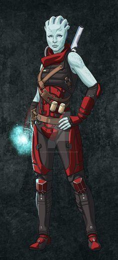 Mass Effect Asari Commission for Taylorlive33 by SapphireGamgee.deviantart.com on @DeviantArt