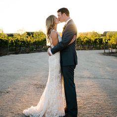 "Vineyard romance in ""Nicole"" by #Amsale | #RealWedding @hannaharista"