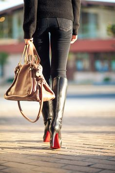 Christian Louboutin black boots & Chloe bag.