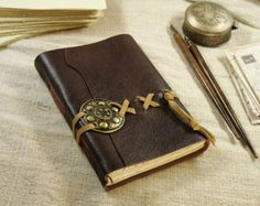 Memories Large Brown Leather Journal Over 330 by bibliographica