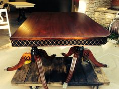 Gorgeous refinished 1930-40's Duncan Phyfe table.  Besides being stripped and new stain being applied, I painted the table skirt and base black and hand painted diamonds in gold.  Stunning.  SOLD.  Tamarabeard1@gmail.com
