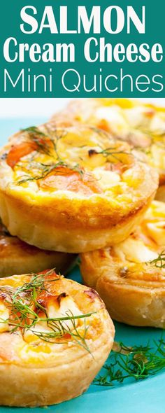 Super easy mini salmon quiches. Puff pastry crust. Salmon, cream cheese, and scallion filling. Make-ahead and freeze. Great party or brunch appetizer.