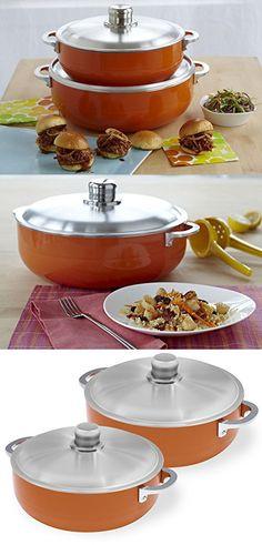 IMUSA CHI-80685 Caldero Set, 2 Piece, Orange Dutch Ovens, Tiered Cakes, Cauldron, Dutch Oven