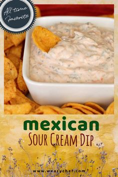 Do you need an appetizer that you can put together in a pinch? There's nothing easier to whip up quick than this Mexican sour cream dip. We saved it for you over at the Weary Chef. You only need a few ingredients, and you can put one of the best Mexican sour cream dip recipes together in 5 minutes! Give it a try; your guests will be pleased. #wearychef #Mexicansourcreamdip #easydiprecipe Mexican Sour Cream, Sour Cream Dip, Mexican Dips, Yummy Appetizers, Appetizers For Party, Appetizer Dips, Appetizer Recipes, Party Dips, Dip Recipes