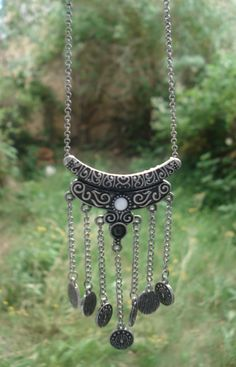 Silver Coin Necklace Oxidized Silver Necklace by Instyleglamour