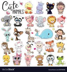 Buy Set of Cartoon Animals by on GraphicRiver. Set of Cute Cartoon Animals on a white background Cartoon Baby Animals, Baby Animal Drawings, Cartoon Drawings Of Animals, Cartoon Images, Cute Baby Animals, Cute Drawings, Logo Animal, Cartoon Mignon, Art Mignon