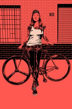 FIXED GEAR GIRL TAIWAN, illustration by adams carvalho :::: ffffixas@gmail.com