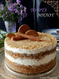 Tante Kiki: Τούρτα cheesecake μήλου με μπισκότα κανέλας Greek Sweets, Greek Desserts, Party Desserts, Greek Recipes, Sweets Recipes, Cooking Recipes, Food Gallery, My Best Recipe, Cheesecake
