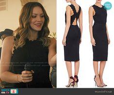 Paige's black dress with zig zag trim on Scorpion.  Outfit Details: https://wornontv.net/55610/ #Scorpion