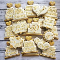 Favors for a 50th wedding anniversary! #50th #truelove #anniversary #goldenanniversary #decoratedcookies #sugarcookies #customcookies #bananabakery