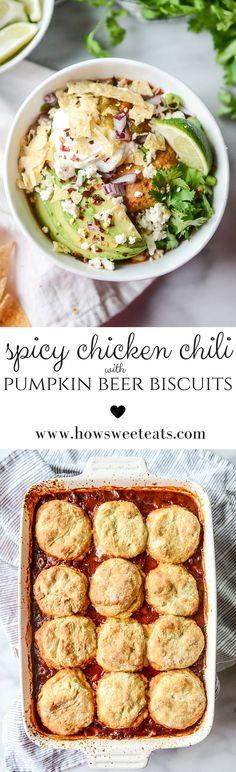 Chicken Chili with Pumpkin Beer Biscuits by @howsweeteats I howsweeteats.com