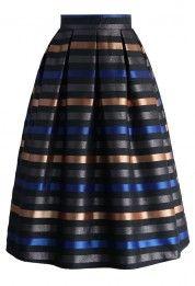 Cheer Moments Striped Midi Skirt