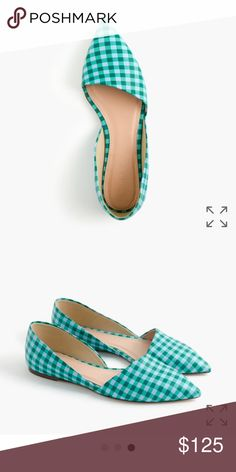 Jcrew gingham sloan d'orsay flats Brand new in box leather flats. Great style and perfect for pattern mixing.  Open to reasonable offers. J. Crew Shoes Flats & Loafers