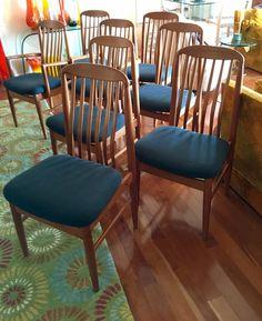 Vintage Mid Century Danish Modern Teak Dining Chairs Set of Eight