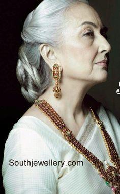 Ruby Long Chain latest jewelry designs - Page 7 of 18 - Indian Jewellery Designs Pakistani Jewelry, South Indian Jewellery, Indian Jewellery Design, Latest Jewellery, Jewelry Design, India Jewelry, Ear Jewelry, Bridal Jewelry, Gold Jewelry