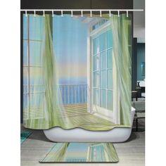 Bath Decor Balcony Seascape Print Shower Curtain - 200*180CM 200*180CM