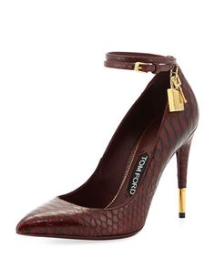 Padlock Ankle-Wrap Python Pump, Bordeaux by Tom Ford at Neiman Marcus. Love these shoes- the little gold lock is priceless!