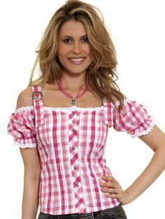 Trachtenbluse Alicia (rosa/pink) San Diego, Floral Tops, German, American, Pink, Roses, Fashion Styles, Oktoberfest, Gowns