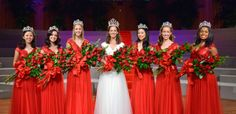 The 2014 Royal Court: Rose Queen, Ana Marie Acosta (center) and the Royal Princesses. Rose Bowl Parade, Rose Bowl Game, Rose Queen, Royal Court, Royal Princess, Tiaras And Crowns, Bridesmaid Dresses, Wedding Dresses, Art Deco Fashion
