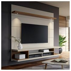 George Oliver Lemington Entertainment Center for TVs with up to 65 # living space designs - Living room tv wall - Entertainment Tv Cabinet Design, Tv Wall Design, Design Case, House Design, Feature Wall Design, Tv Feature Wall, Hall Design, Set Design, Tv Unit Decor