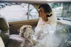 Vintage bride with fabric bouquet and hair piece by The Elephant´s Journey