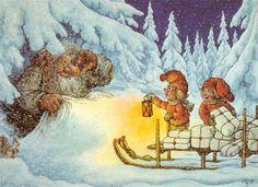 Улыбнемся зимним иллюстрациям Рольфа Йонаса Лидберг.