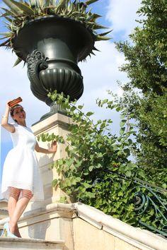 White dress, light blue pumps