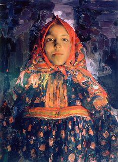 Russian Painter:  Philipp Malyavin  (1869-1910)    'Verka' 1913    Oil on Canvas,