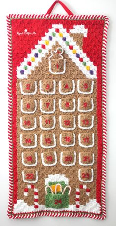 Crochet C2C Gingerbread House Advent Calendar - Repeat Crafter Me Free Pattern